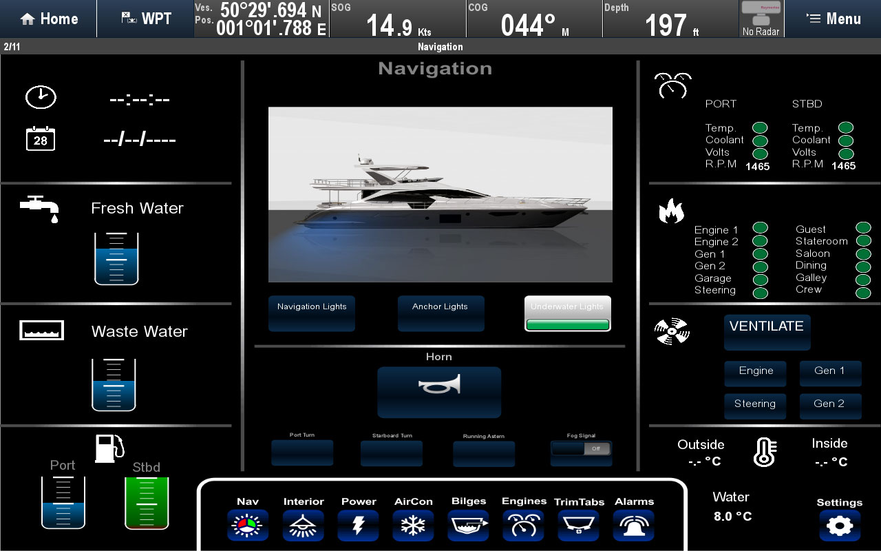Digital Switching-Bildschirmaufteilung | Raymarine by FLIR